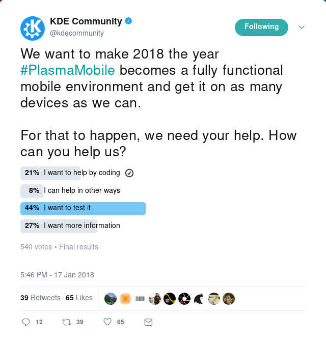 Poll on twitter