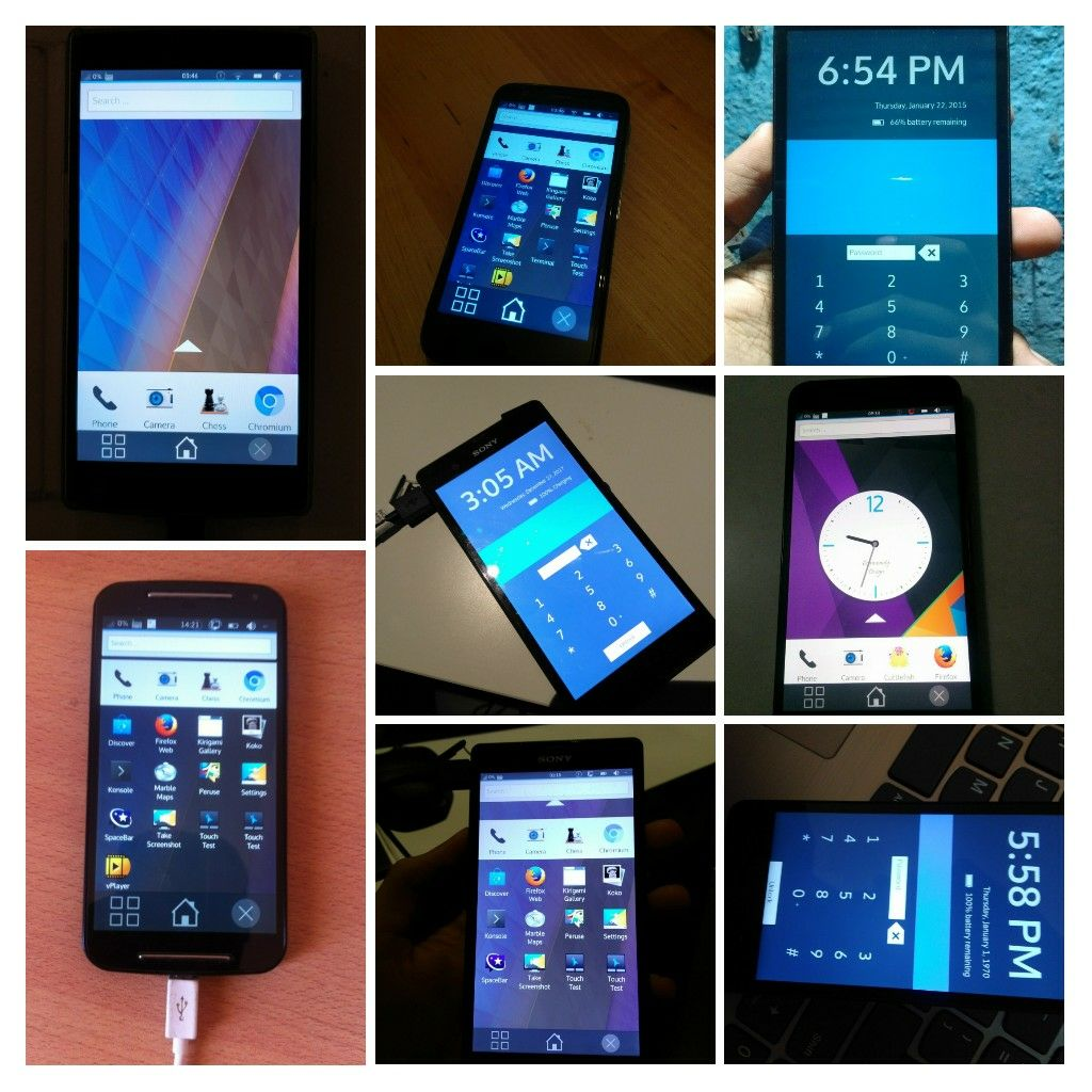 Various devices running Plasma Mobile
